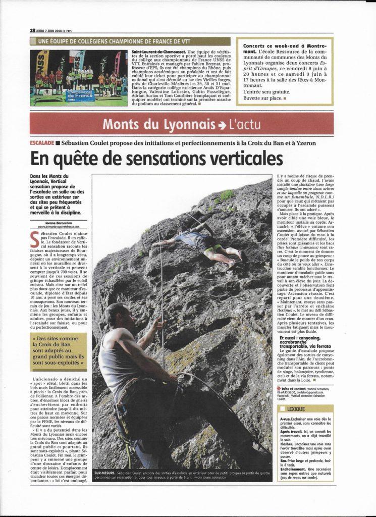 VERTICAL sensation dans la presse dans les Monts du Lyonnais à Lyon (69)